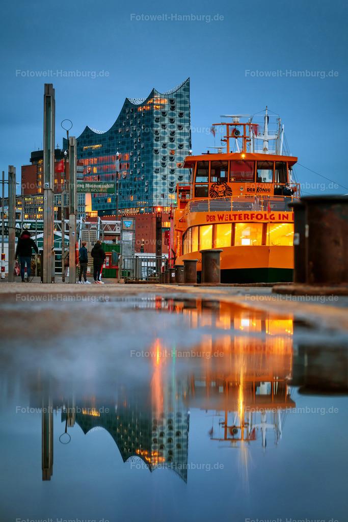10210210 - Elbphilharmonie und Musicalfähre | Die Musicalfähre erleuchtet diesen blauen Abend an den Landungsbrücken auf ganz besondere Art.