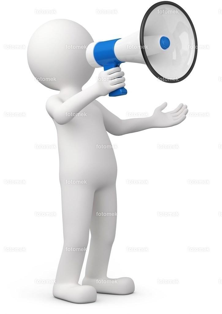 männchen mit blauem megaphone   weisse 3D Männchen von Fotomek