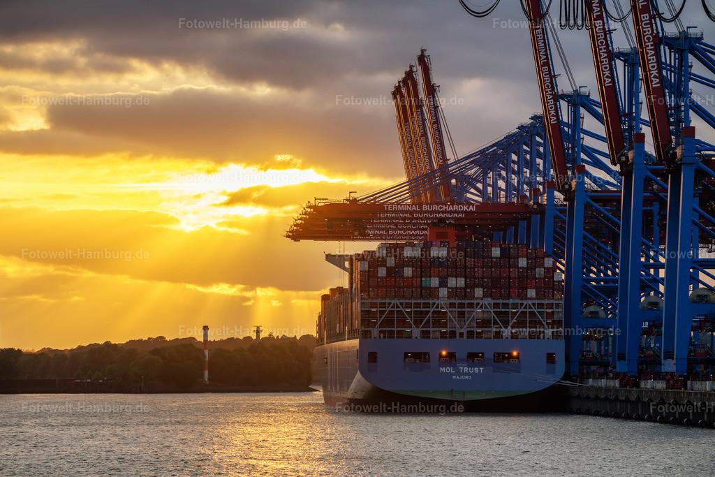 10210616 - Leuchtender Himmel in Waltershof   Blick durch den Waltershofer Hafen auf einen strahlenden Abendhimmel hinter der MOL TRUST.