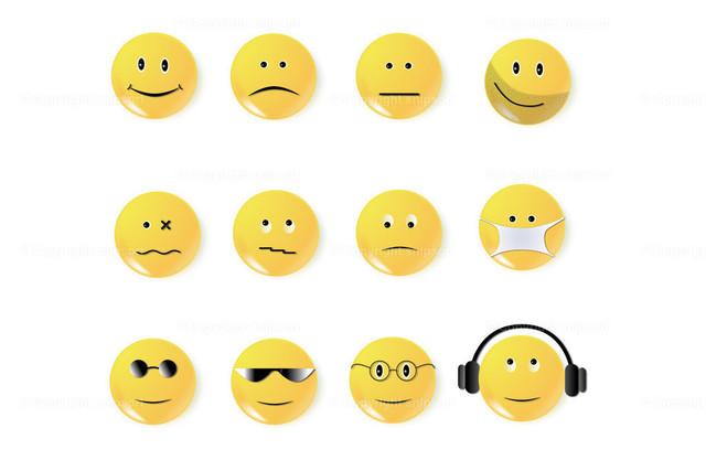 Smiley 5 | Eine Sammlung von 12 gelben Smileys.