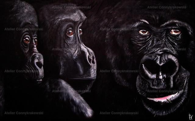 3 Gorillas 4000x300_bearbeitet-1 | Phantastischer Realismus aus dem Atelier Conny Krakowski. Verkäuflich als Poster, Leinwanddruck und vieles mehr.