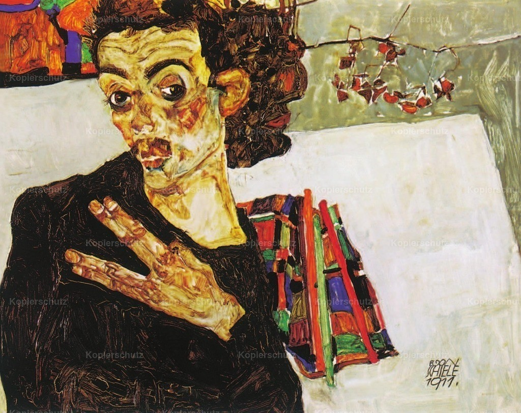 Schiele_ Egon (1890-1918) - Self-portrait with Black Clay Vase and Spread fingers 1911