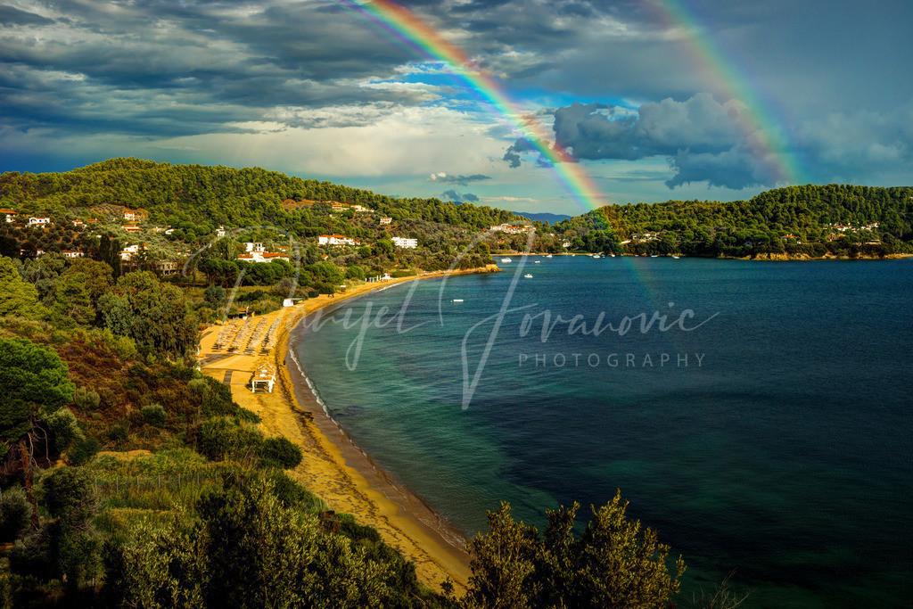 Rainbow | Doppelter Regenbogen über dem Strand von Platanias, Skiathos