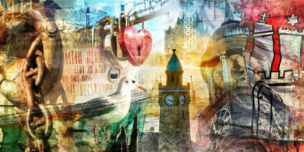 10200513 - Hamburg Collage 034 | Modernes abstraktes Hamburg Wandbild mit einem Hans Albers Zitat.