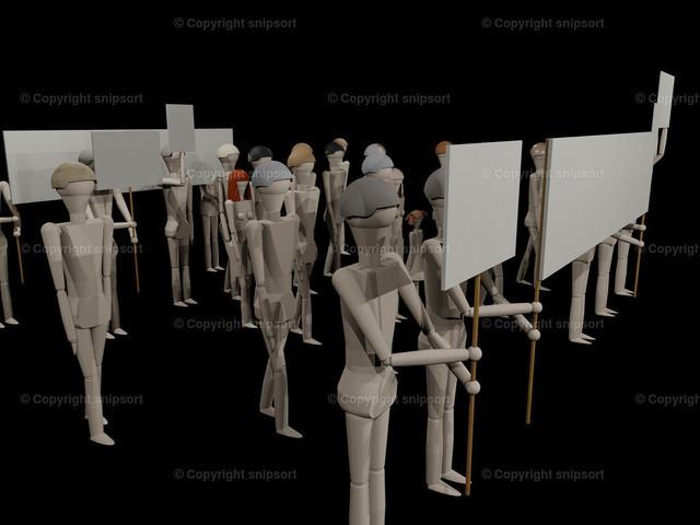 Demo_03_1 | Leute gehen mit Transparenten zu einer Demonstration (3D-Rendering mit Holzpuppen)