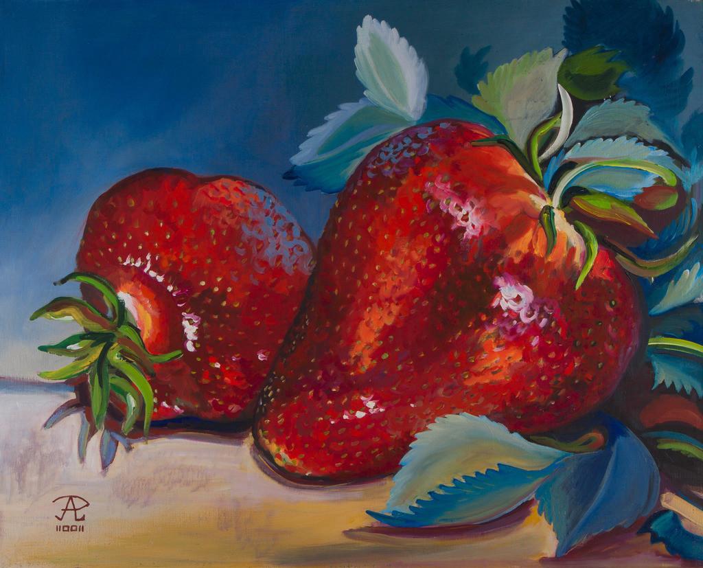 Erdbeeren vor blauem Grund | Originalformat: 49x61cm  -  Produktionsjahr: 2002