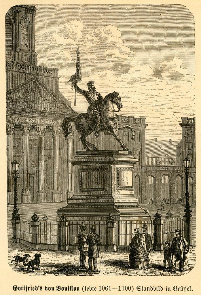 Gottfried´s von Bouillon Standbild in Brüssel /  statue of  Godfrey of Bouillon in Bruxelles | Europa, Belgien, Brüssel, Reiterstandbild von Gottfried von Bouillon,  Motiv aus :