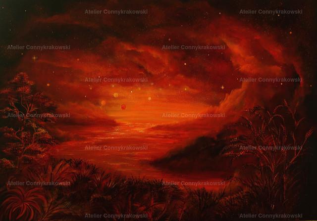 Die rote Welt | Phantastischer Realismus aus dem Atelier Conny Krakowski. Verkäuflich als Poster, Leinwanddruck und vieles mehr.