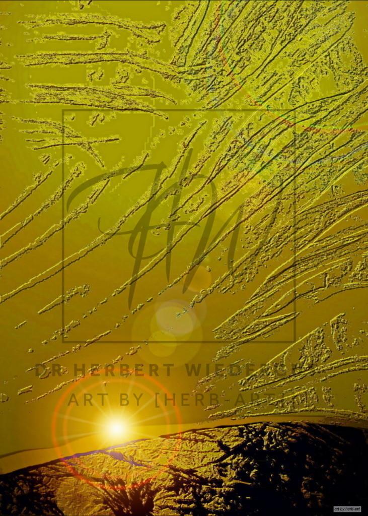 golden Sky | digitale Fotoarbeit von Dr. Herbert Wiedergut. Vielleicht ein goldener Himmel über dem Planeten Erde