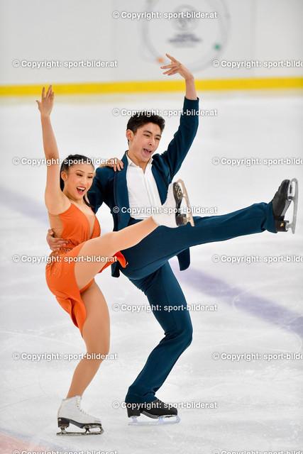 AUT, Eiskunstlaufen, Junior Grand Prix of Figure Skating 2021/2022   07.10.2021, Eishalle Linz, AUT, Eiskunstlaufen, Junior Grand Prix of Figure Skating 2021/2022, im Bild Angela Ling und Caleb Wein (USA) - Junior Ice Dance Rhythm Dance
