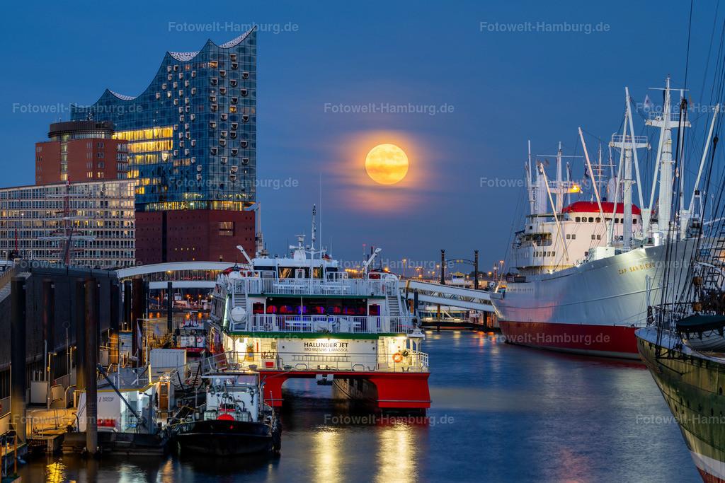 10200506 - Elbphilharmonie und Supermond | Goldener Mondaufgang in Hamburg zwischen der Elbphilharmonie und der Cap San Diego.