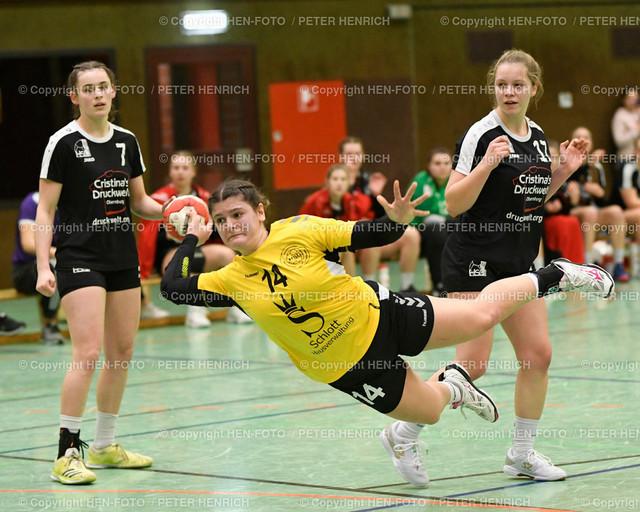 Handball Oberliga HSG Weiterstadt - HSG Rodgau (34:33) copyright HEN-FOTO | Handball Oberliga weibliche A Jugend HSG Weiterstadt Braunshardt Worfelden - HSG Rodgau Nieder-Roden (34:33) v li 7 Christine Burgard (N) 14 Konstantina Kasartzoglou (W) Hannah Stenger (N) copyright + Foto: Peter Henrich (HEN-FOTO)