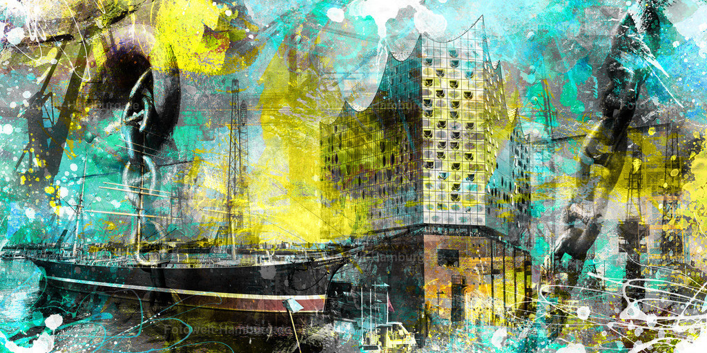 10190913 - Hamburg Collage 024 | Modernes Hamburg Wandbild im Pop-Art Stil mit digitalen Pinseleffekten.