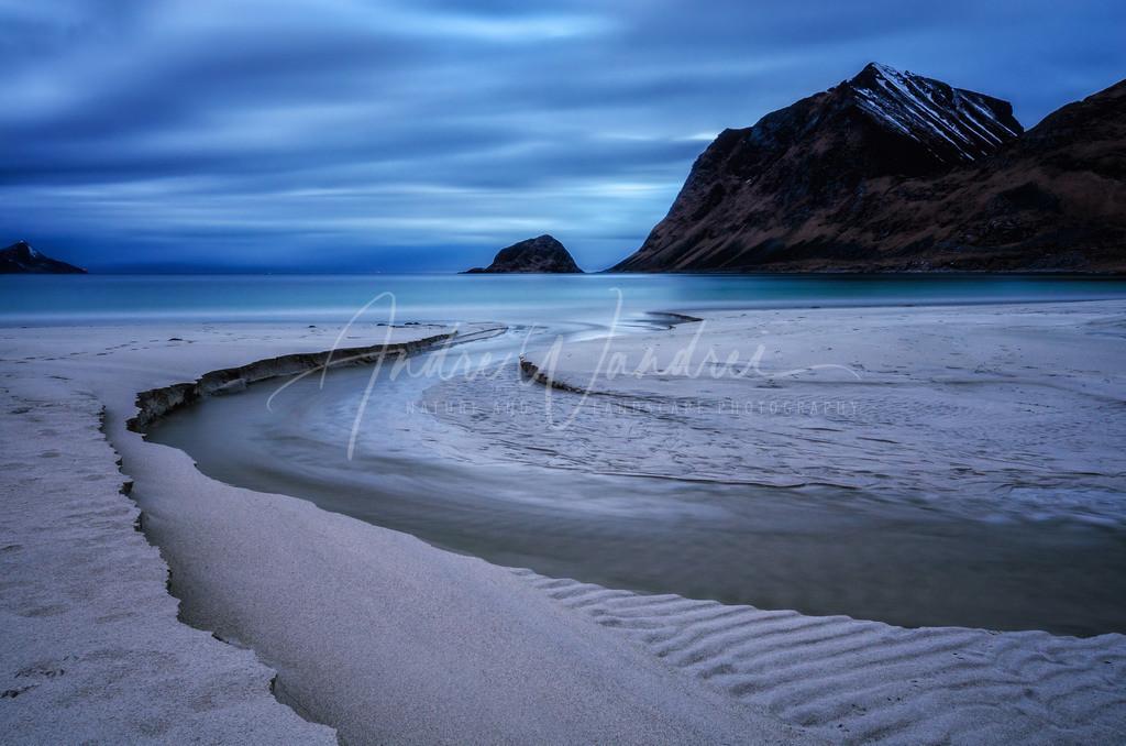 Mitternacht am Strand von Haukland