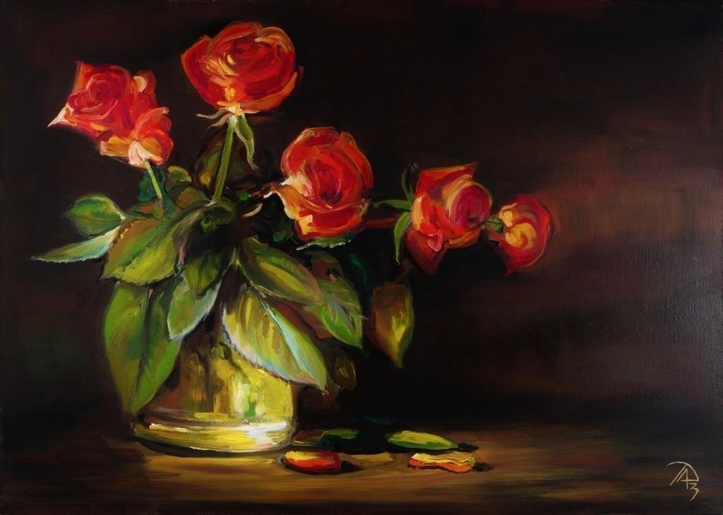 Rosen in einer Glasvase | Originalformat: 50x70cm  -  Produktionsjahr: 2013