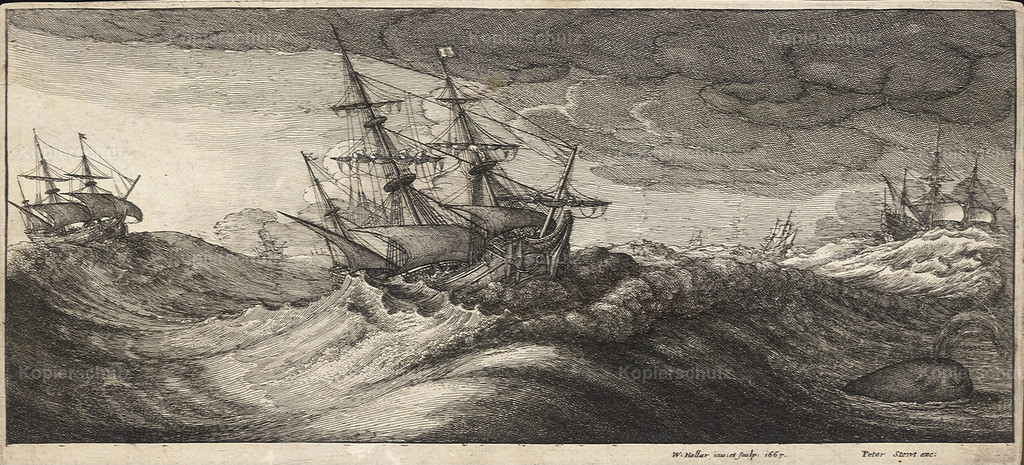Wenceslas_Hollar_-_Warships_and_a_spouting_whale_(State_1)