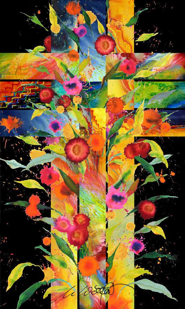 Kreuz Blumen Geflecht_V03 | Das Kreuz. Es wird so oft gedeutet und bleibt ein Geheimnis, geflochten in die Geschichte und das Schicksal der Menschen.  Dreieiniger Gott mit Geist, Leib und Seele des Menschen verwoben. Für die einen der Tod, für andere erst das Leben.  jedenfalls:  Immer lebendig, blühende Hoffnung, farbiges Rätzel  in unserer Nacht.