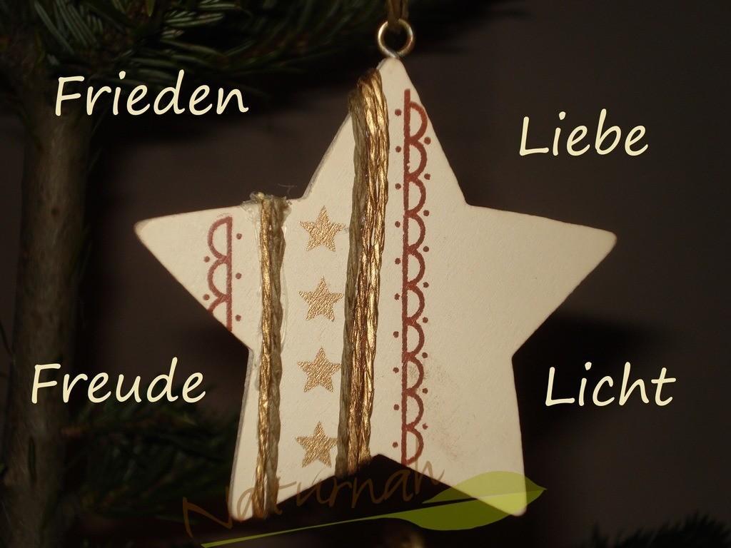 Wunschstern | Weihnachtlicher Stern mit Wünschen: Frieden, Liebe, Freude, Licht!