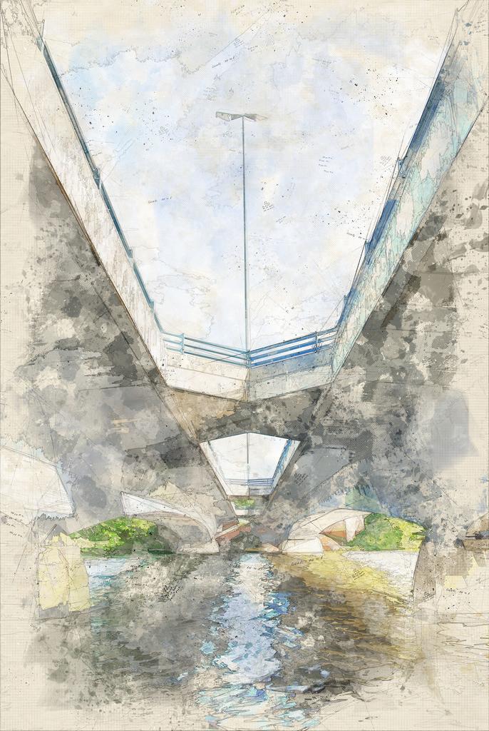 Münster - Torminbrücke über den Aasee   Münster - Torminbrücke über den Aasee