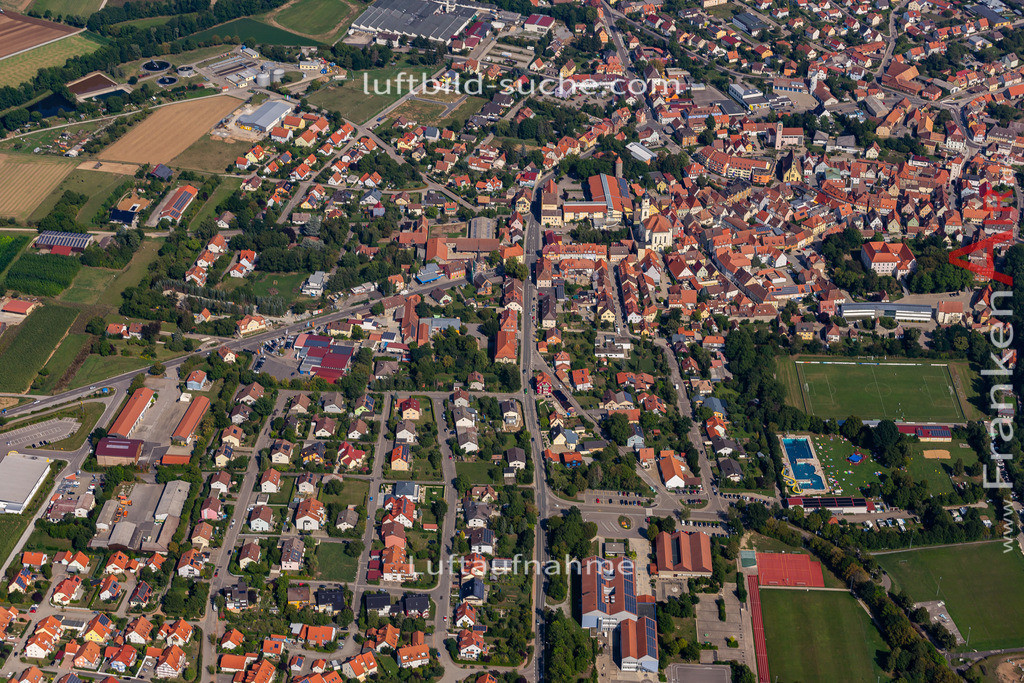 uffenheim-19-735   aktuelles Luftbild von  Uffenheim - Luftaufnahme wurde 2019 von https://frankenair.de mittels Flugzeug (keine Drohne) erstellt.
