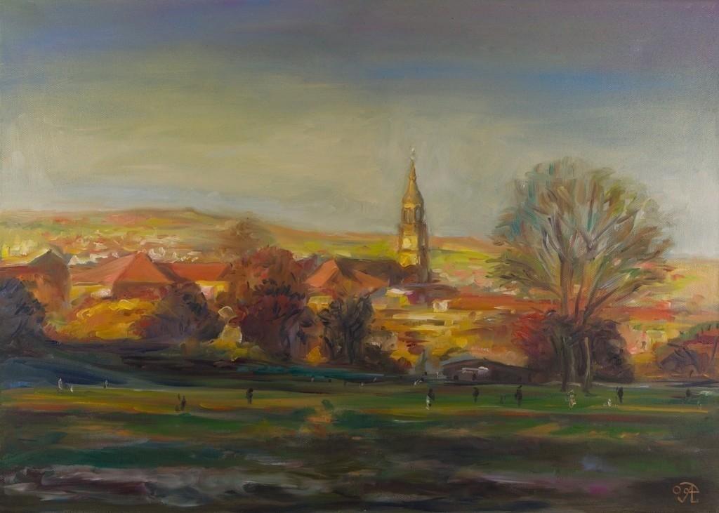 Elbaue-Blick auf Martin Luther Kirche | Originalformat: 50x70cm  -   Produktionsjahr: 2009