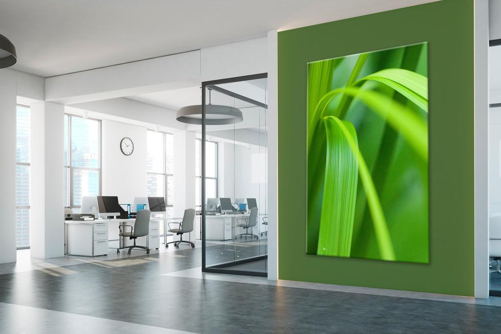 Foyer mit Blattmoriv | Anwendungsbeispiel für eine Wandgestaltung ifür den Eingangsbereich in Ihrem Unternehmen. Sie finden das Motiv in der Galerie Farben und Formen - Farbstimmungen