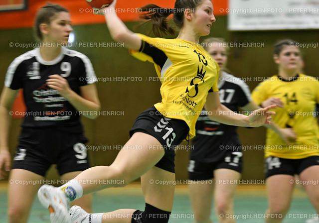 Handball Oberliga HSG Weiterstadt - HSG Rodgau (34:33) copyright HEN-FOTO   Handball Oberliga weibliche A Jugend HSG Weiterstadt Braunshardt Worfelden - HSG Rodgau Nieder-Roden (34:33) li 9 Mira Schuck (N) Mi 13 Naomy Winter (W) copyright + Foto: Peter Henrich (HEN-FOTO)