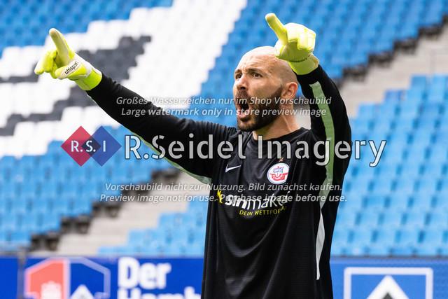 Fußball, Herren, Testspiel, Hamburger SV - FC Hansa Rostock, Volksparkstadion, 09.08.2020 | Markus Kolke (#1 Hansa Rostock Torwart)
