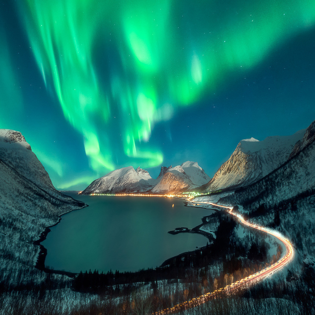 Aurora | Northern lights over a norwegian Fjord.
