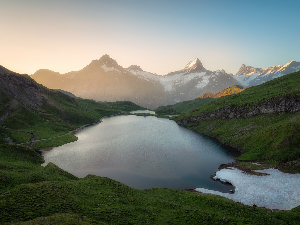 Alpine Lake | Those warm temperatures get me excited for summer. How about you? There's still so much snow in the mountains though. I shot this sunrise in the Bernese Oberland last summer and it's only a couple hours walk from my home. I really feel blessed for living at this place.