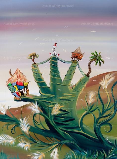 Das grüne Händchen C | Phantastischer Realismus aus dem Atelier Conny Krakowski. Verkäuflich als Poster, Leinwanddruck und vieles mehr.