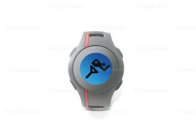 Eine Sportuhr mit Sportpiktogramm über weißem Hintergrund | Eine Pulsuhr mit blauer Hintergrundbeleuchtung mit einem Sprinter als Piktogramm auf dem Display.