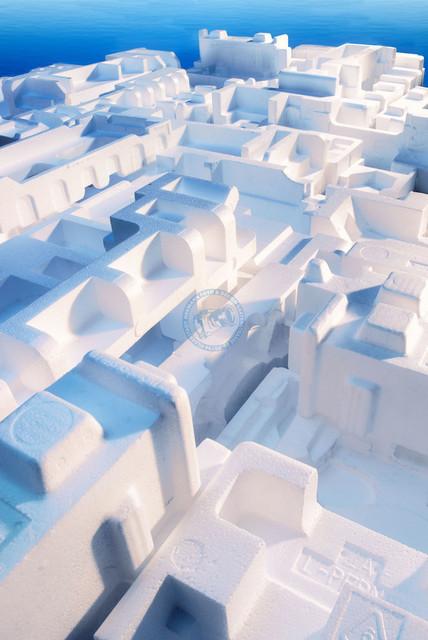 Styrostadt | DEU, Deutschland, Filderstadt, 2008, Architekturmodell einer Stadt aus Styroporverpackungen[© 2008 (c)Christoph Hermann, Bild-Kunst Urheber 707707, Karlstrasse 94, 70794 Filderstadt, 0711/6365685;   www.hermann-foto-design.de ; Contact: E-Mail ch@hermann-foto-design.de, fon: +49 711 636 56 85,  ]