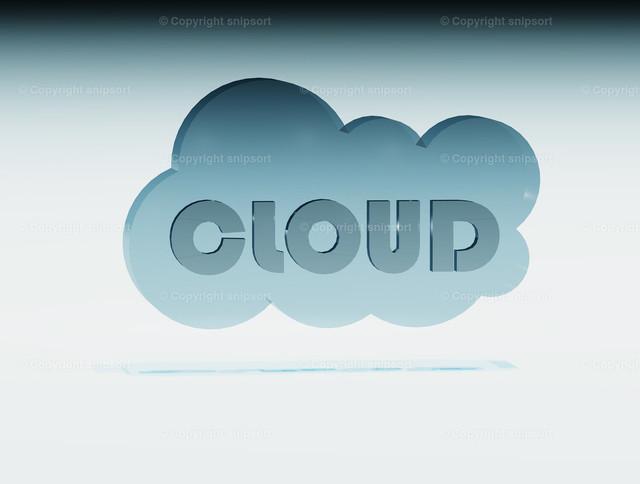 cloud_03_de | Eine Wolke mit dem Wort Cloud als 3D Illustration