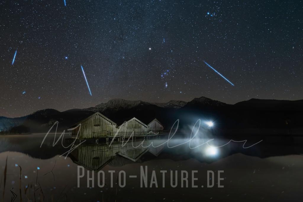 Die Geminiden | Ein Meteoritenschauer über einem bayerischen See