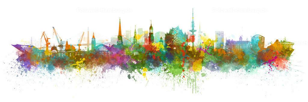 10210705 - Hamburg Skyline Colour-Splash | Unsere beliebte Hamburg Skyline ist nun auch als farbenfrohe abstrakte Variante im Colour-Splash Look erhältlich.