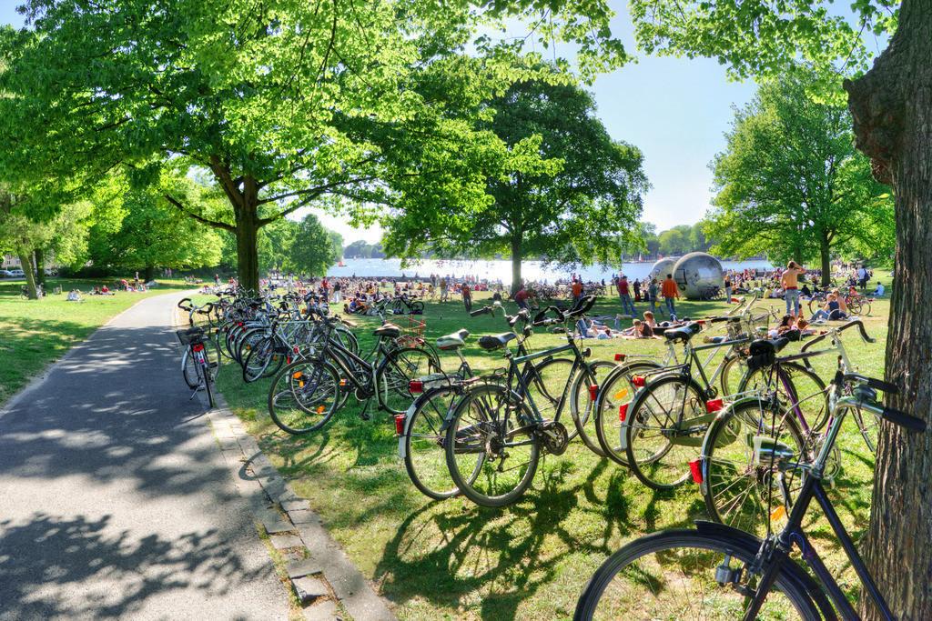 Fahrräder am sommerlichen Aasee in Münster   Viele Fahrräder am Aasee in Münster , Westfalen im Sommer mit grünen Bäumen und viel Sonne - im Hintergrund die Aaseekugeln