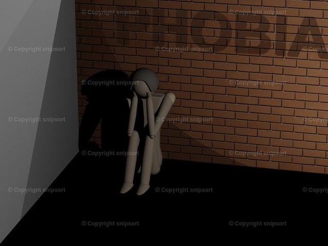 Mann sitzt starr vor Angst in der Ecke (3D-Rendering) | Ein an Phobie leidender Mann sitzt zusammengekauert in der Ecke (3D-Rendering mit Holzpuppe)