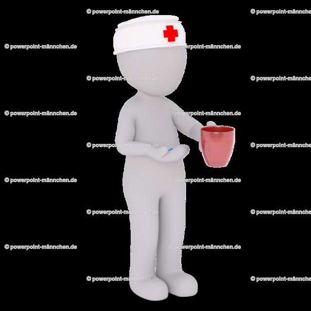 the nurse is bring you the medicine and a cup of water | Quelle: https://3dman.eu   Jetzt 250 Bilder kostenlos sichern