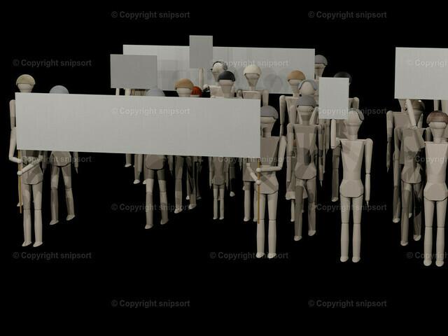 Demo_01 | Leute gehen mit Transparenten zu einer Demonstration (3D-Rendering mit Holzpuppen)