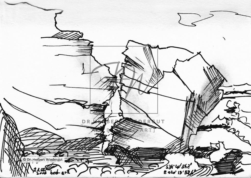 Zwei Felsen | Feslformation an der Küste bei Arniston in Südafrika. Imposante Küstenlandschaft am Indischen Ozean. GPS-Daten sind an der Skizze enthalten.