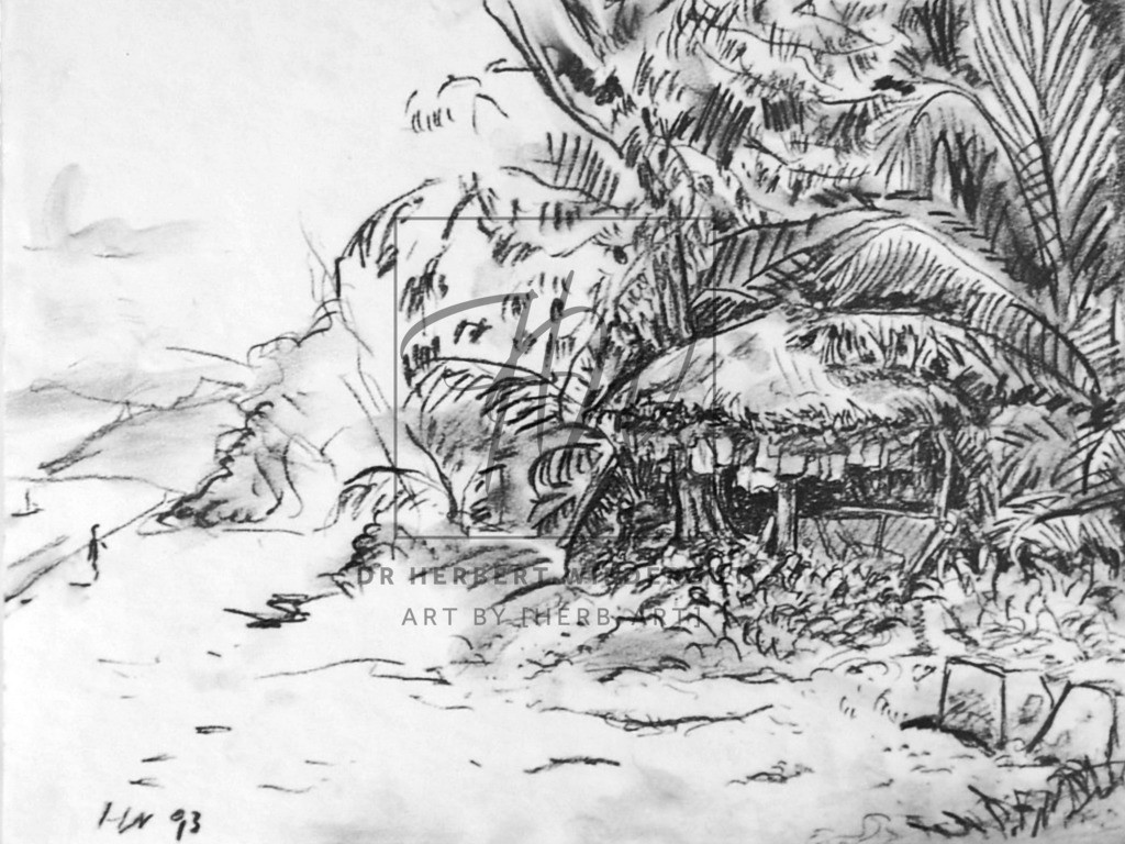 Strand auf Praslin   Strandmotiv auf der Insel Praslin auf den Seychellen. Reiseskizze.