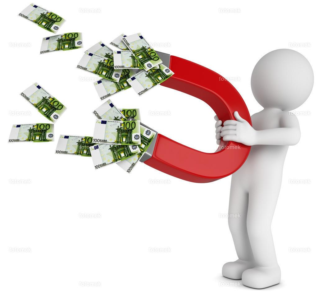 weisses 3d Männchen mit Hufeisen und Geldscheinen | 3d männchen mit Hufeisen zieht das Geld magisch an.