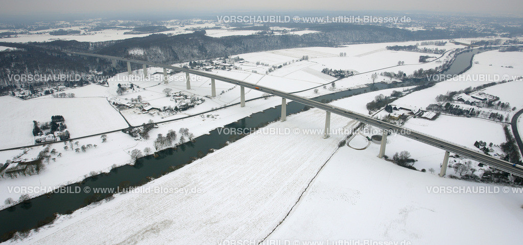 KT10011192 | Schnee, Ruhrtalbrücke Mintard,  Ickten, Mülheim an der Ruhr, Ruhrgebiet, Nordrhein-Westfalen, Deutschland, Europa, Foto: Luftbild Hans Blossey, Copyright: hans@blossey.eu, 06.01.2010, E 006° 54' 06.54