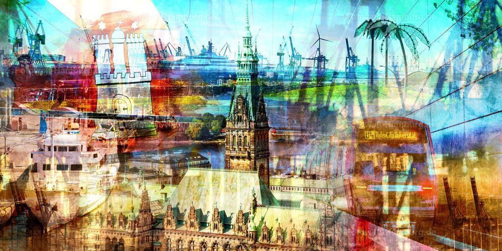 10210510 - Hamburg Collage 047   Modernes abstraktes Hamburg Wandbild mit vielen Sehenswürdigkeiten und Details aus der Hansestadt.