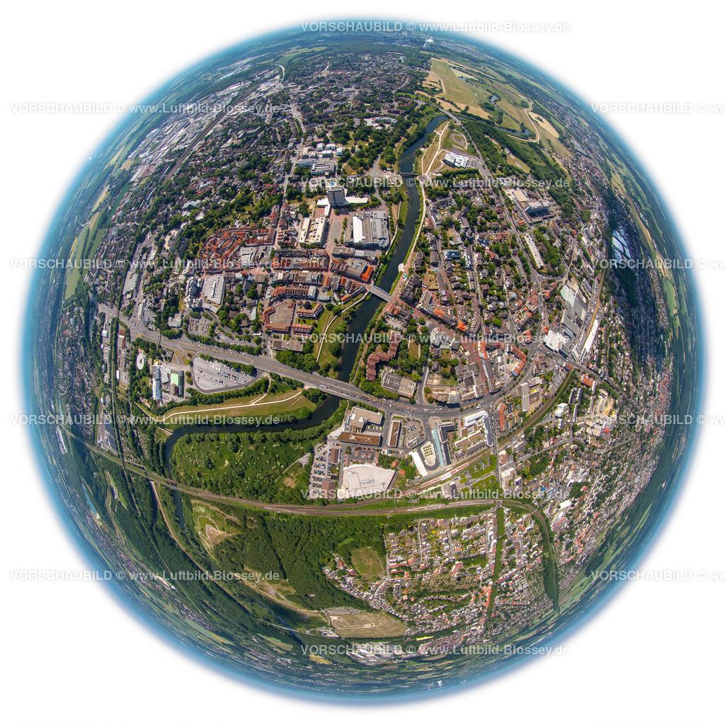 Luenen15064129W | Blick auf den Stadtkern von Lünen mit Lippe und Marktplatz, Fischaugenaufnahme, Panorama,  fisheye-lens,Lünen, Ruhrgebiet, Nordrhein-Westfalen, Deutschland