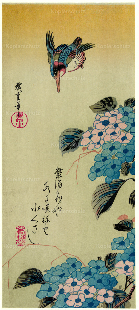 Hydrangea-and-kingfisher by Hiroshige - Large Format