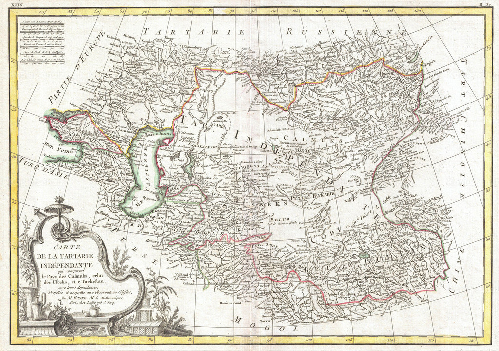1771_Bonne_Map_of_Central_Asia