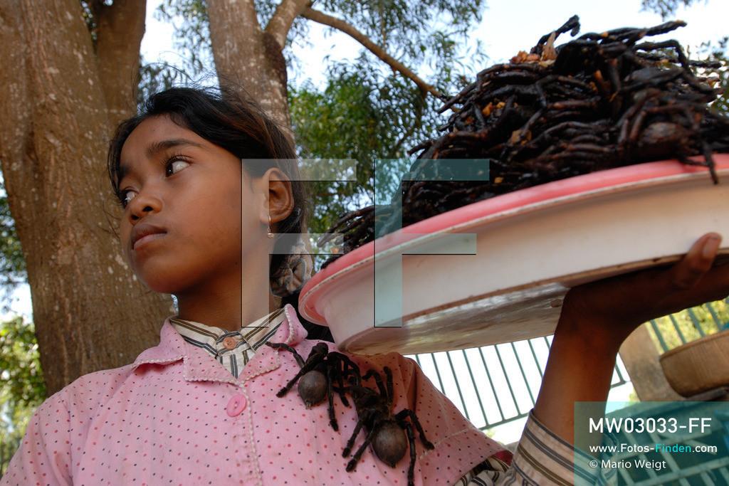 MW03033-FF | Kambodscha | Provinz Kampong Cham | Skoun | Reportage: Phektra verkauft Vogelspinnen | Phektra bietet ihre zubereiteten Vogelspinnen an. Die 12-jährige Phektra lebt im Dorf Skoun, das für seine schwarzen frittierten Vogelspinnen bekannt ist. Phektra fängt und sammelt die Spinnen im Wald und verkauft die frittierten Achtbeiner an der Bushaltestelle.   ** Feindaten bitte anfragen bei Mario Weigt Photography, info@asia-stories.com **