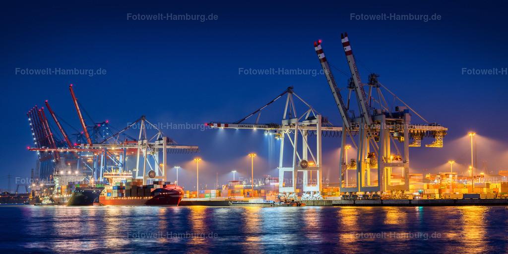 10200807 - Terminal Tollerort bei Nacht | Blick auf das Containerterminal Tollerort im Hamburger Hafen bei Nacht.
